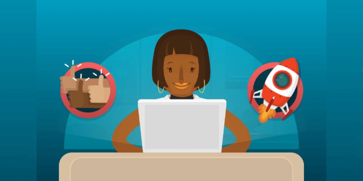gravura com fundo azul e a representação de uma mulher negra, estilizada, com cabelos curtos, de frente a uma mesa e a um laptop. Do seu lado esquerdo está um círculo com 3 mãos de diferentes cores simbolizando a diversidade, com o dedo polegar indicando o símbolo afirmativo. Do seu lado direito há um círculo com um foguete.