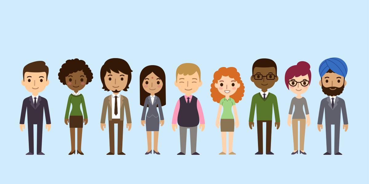 imagem gráfica em forma de desenho representando 9 pessoas, dentre elas homens brancos e negros, incluindo um utilizando um turbante; mulheres brancas e negras, incluindo uma mulher ruiva e uma indiana.